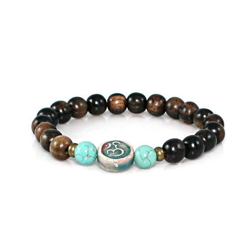 Ceramic Om Bead Tiger Ebony Stretch Bracelet Bracelet - Lari's Jewelry Designs