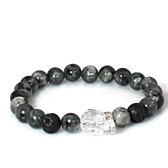 Men's Crystal Skull Mala Bracelet with Labradorite Gemstones
