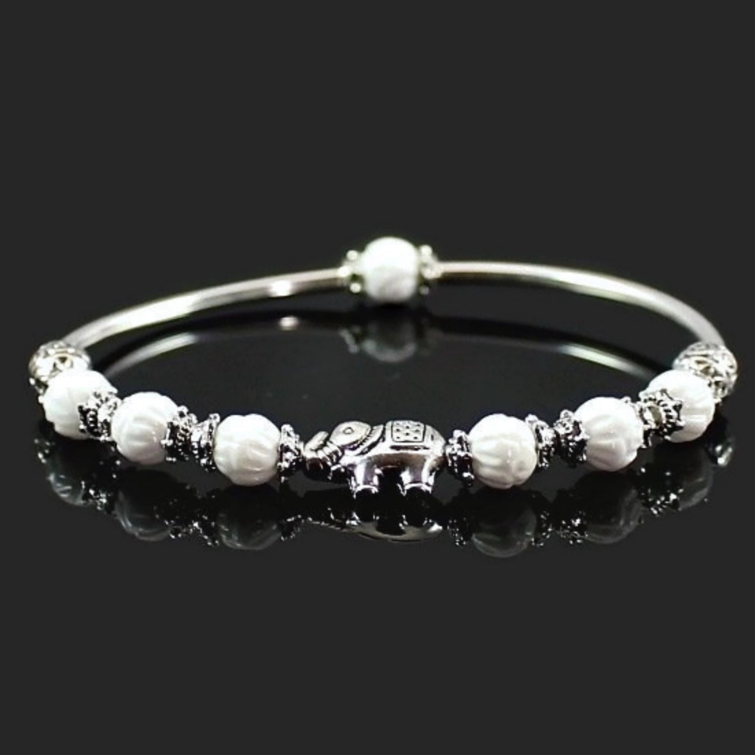 Elephant Stretch Bangle Bracelet with Tridacna Shell Beads