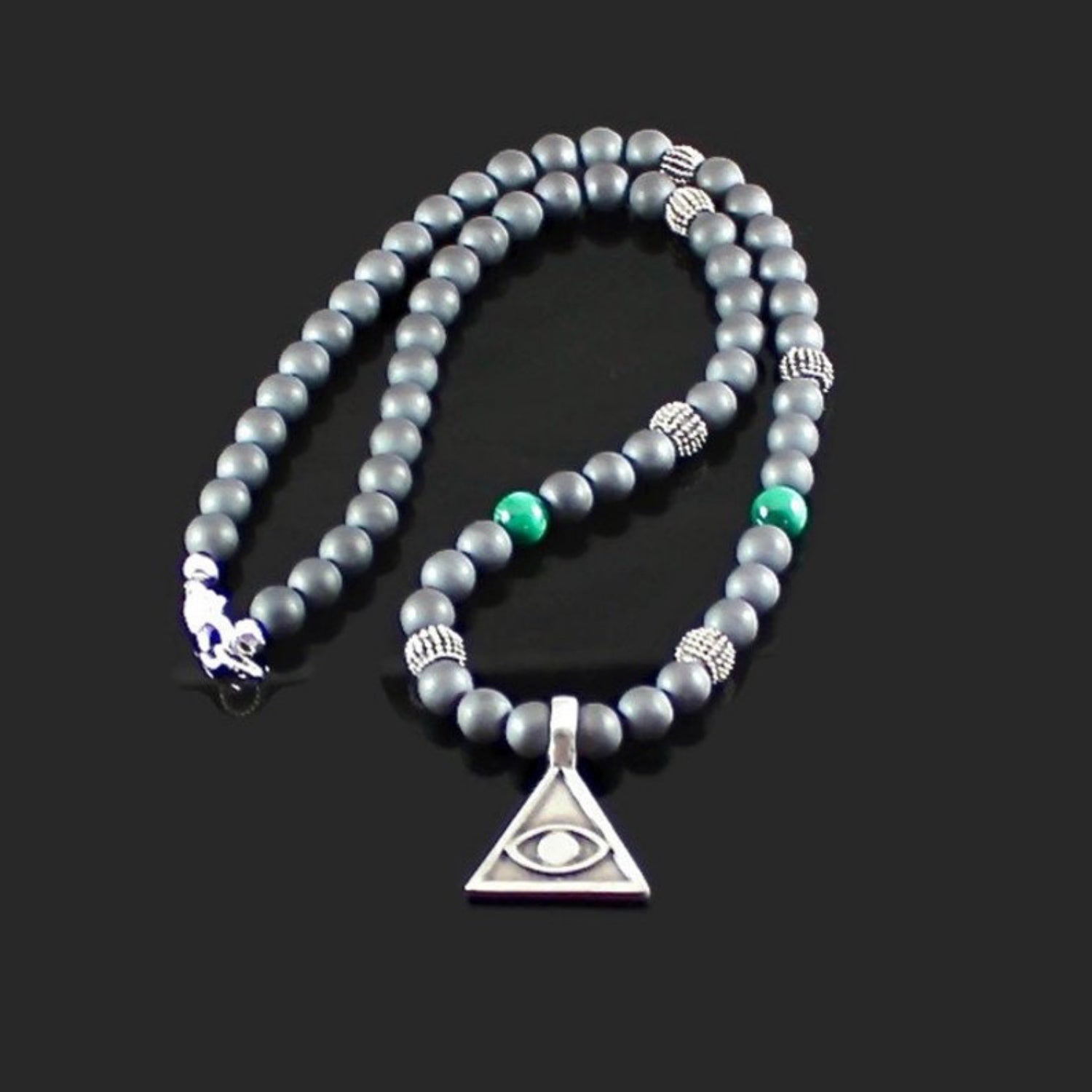 Men's Hematite and Malachite Eye of Providence Necklace