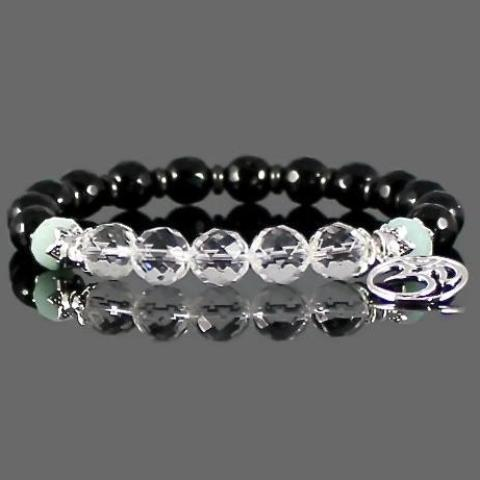 Women's Quartz Crystal, Amazonite and Onyx Om Bracelet
