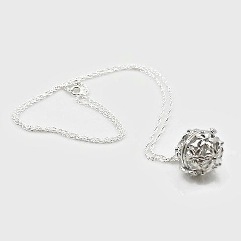 Essential Oil Diffuser Flower Pendant Necklace with Sterling Silver Chain