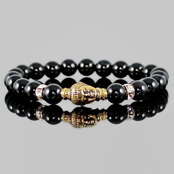 Black Onyx Buddha Bracelet with Swarovski Beads