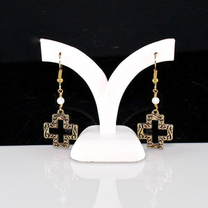 Equal Sided Cross Earrings with Moonstone