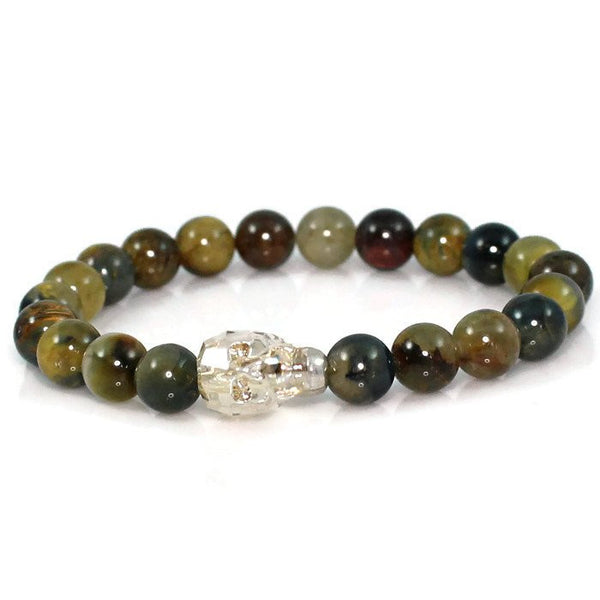 Men's Golden Shadow Crystal Skull Meditation Bracelet with Pietersite Gemstone Beads