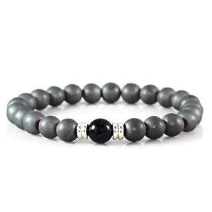 Men's Hematite and Blue Tiger Eye Yoga Bracelet