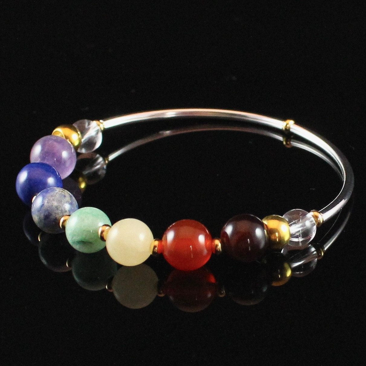 7 Chakra Bracelet In Gold and Silver with Chakra Balancing Crystals