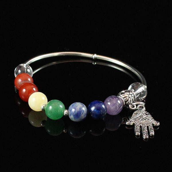 7 Chakra Balancing Bracelet with Silver Hamsa Hand Charm and Crystal Quartz