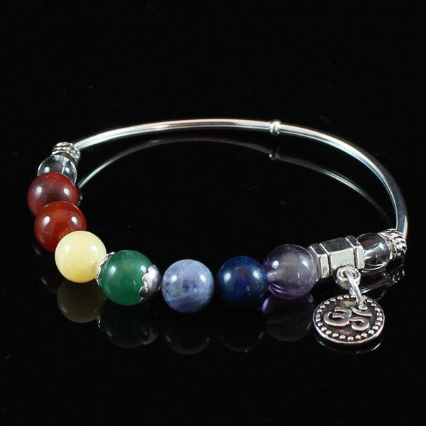 Crystal 7 Chakra Bracelet with Silver Om Charm, Spiritual Crystals