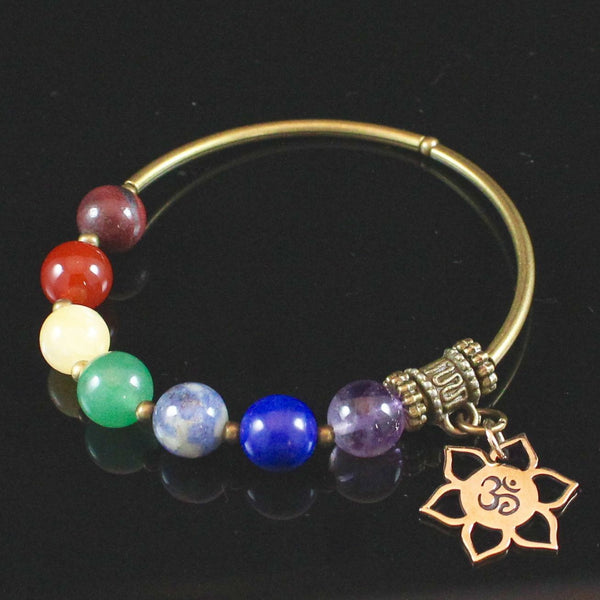 7 Chakra Bracelet with Natural Bronze Lotus Om Charm