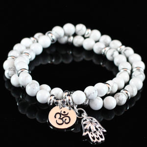 White Wrap Om Bracelet with Hamsa Charm