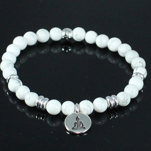 White Howlite Lotus Pose Charm Stretch Bracelet