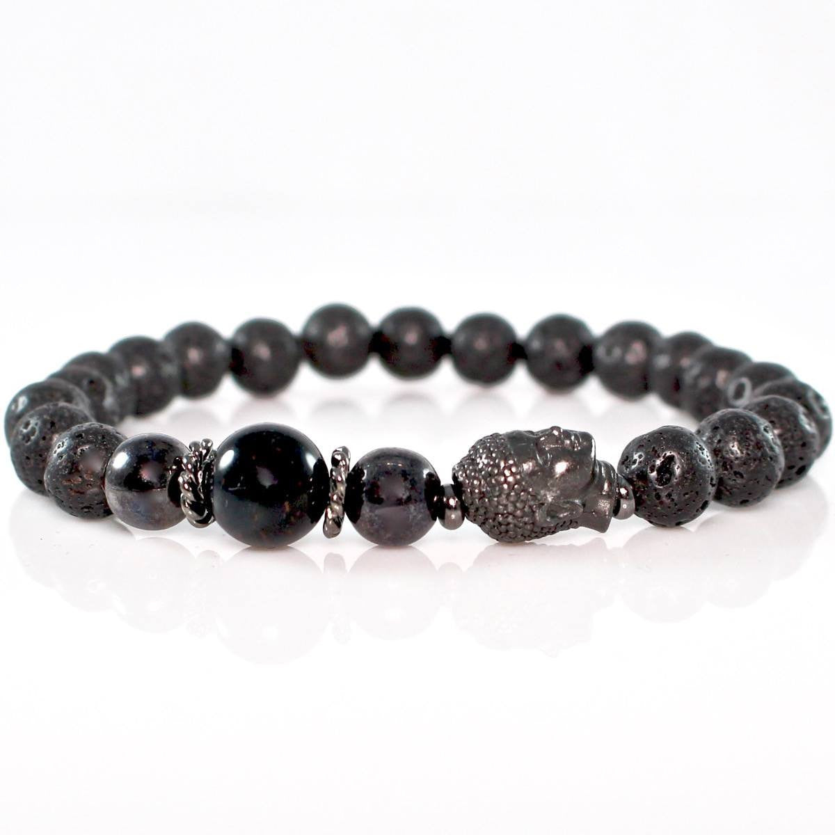 Men's Lava Buddha Bracelet with Blue Tiger Eye