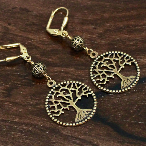 Brass Tree of Life Cosmic Earrings
