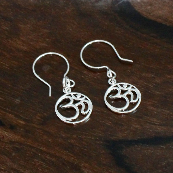 Simple Sterling Silver Om Earrings,  Zen Earrings