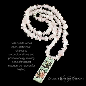 Rose Quartz Heart Chakra Necklace with Om Pendant