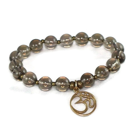 Natural Bronze Om Smokey Quartz Bracelet