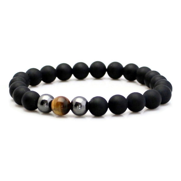 Tiger Eye and Matte Black Onyx Yoga Bracelet
