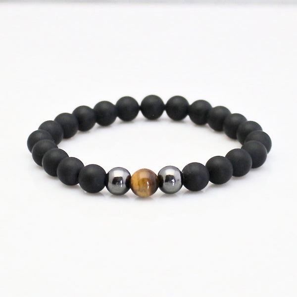 Tiger Eye and Matte Black Onyx Yoga Bracele
