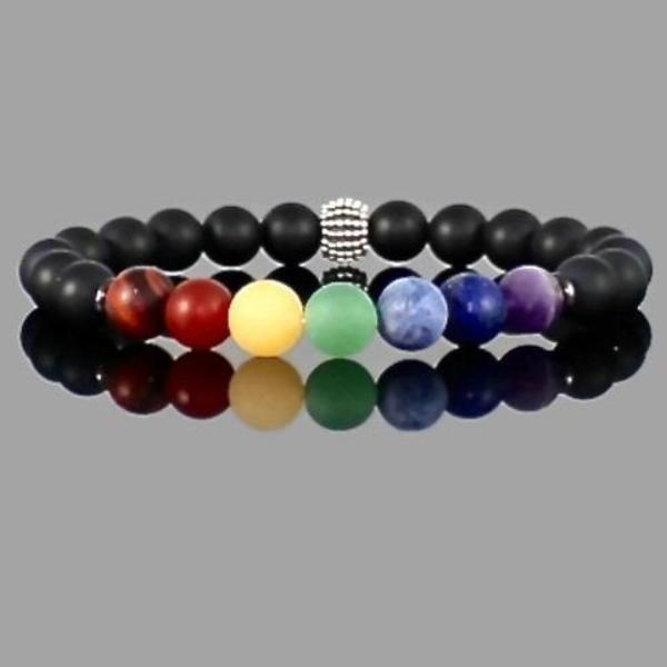 Matte Gemstone 7 Chakra Bracelet for Men or Women