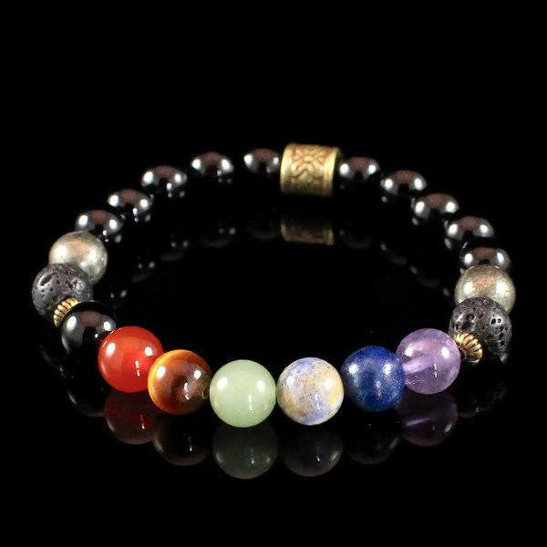 Mens 7 Chakra Bracelet Pyrite and Obsidian