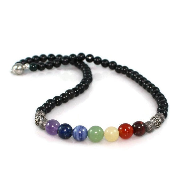 Men's Chakra Balancing Necklace, Bali Beads