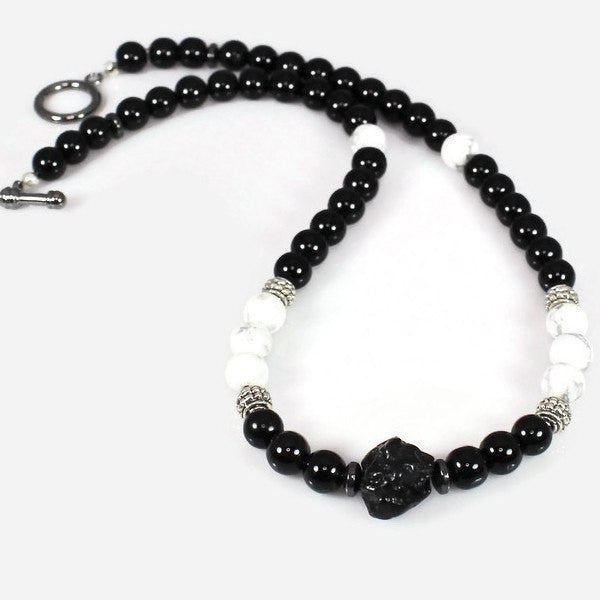 Men's Black and White Energy Gemstone Choker Necklace