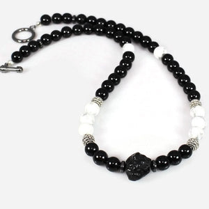 Men's Black and White Energy Gemstone Choker - Lari's Jewelry Designs