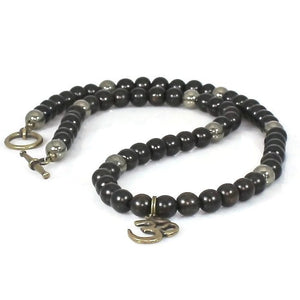 Men's Brass Om Pendant Black Ebony Wood Choker Necklace