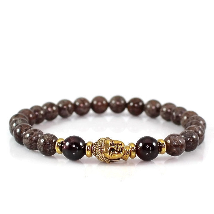 Men's Buddha Meditation Mala Bracelet with Garnet and Snowflake Jasper