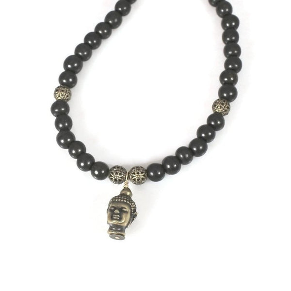 Beaded Ebony Wood Brass Buddha Choker Necklace