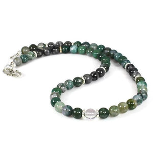 Men's Moss Agate Abundance Choker Necklace Necklace - Lari's Jewelry Designs
