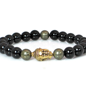 Men's Onyx and Pyrite Buddha Bracelet