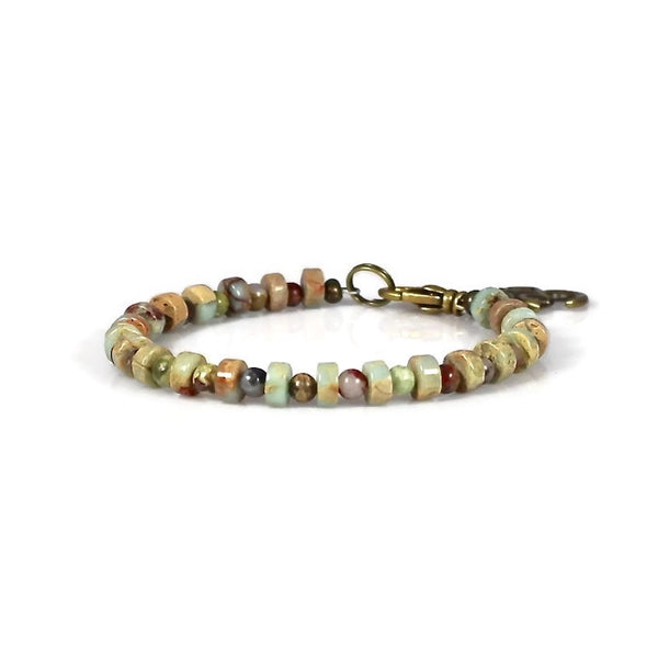 Impression Jasper Om Heart Chakra Bracelet for Men or Women