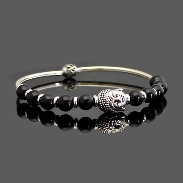 Onyx Stretch Buddha Bangle Bracelet | Lari's Jewelry Designs