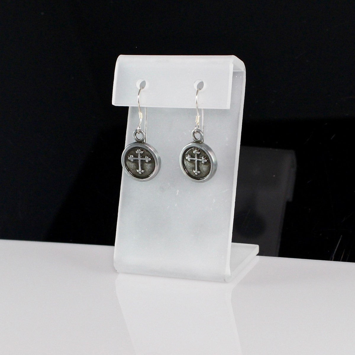 Round Pewter Fleur-de-lis Cross Earrings with Sterling Silver Ear Wires