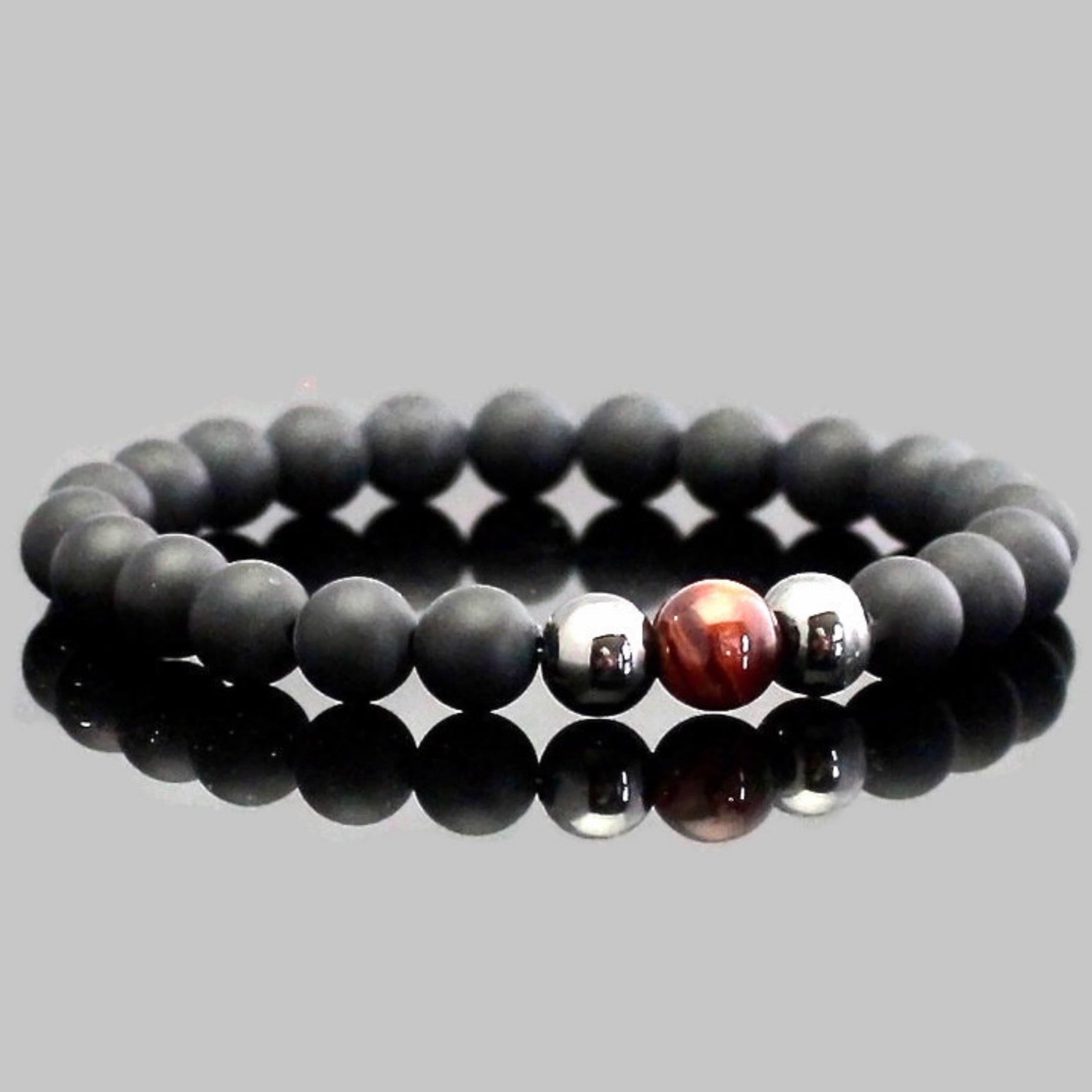 Red Tiger Eye and Matte Onyx Yoga Bracelet