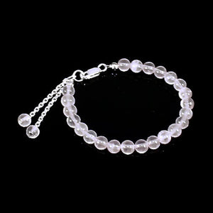 Rose Quartz and Sterling Silver Heart Chakra Bracelet