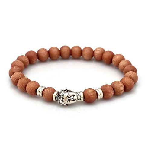 Rosewood and Silver Pewter Buddha Wrist Mala  - Lari's Jewelry Designs