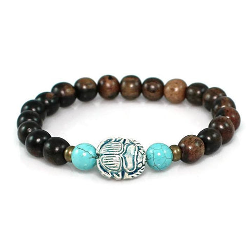 Scarab Tiger Ebony Stretch Bracelet Bracelet - Lari's Jewelry Designs