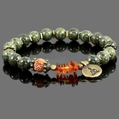Serpentine and Amber Buddha Yoga Bracelet for Men or Women