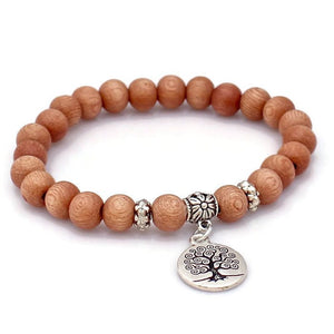 Rosewood Tree of Life Calming Wrist Mala Bracelet - Lari's Jewelry Designs