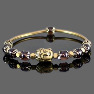 Buddha Stretch Bangle Bracelet with Smokey Quartz