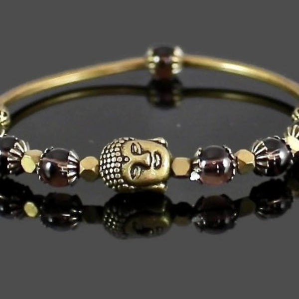 Smokey Quartz Buddha Bangle Stretch Bracelet
