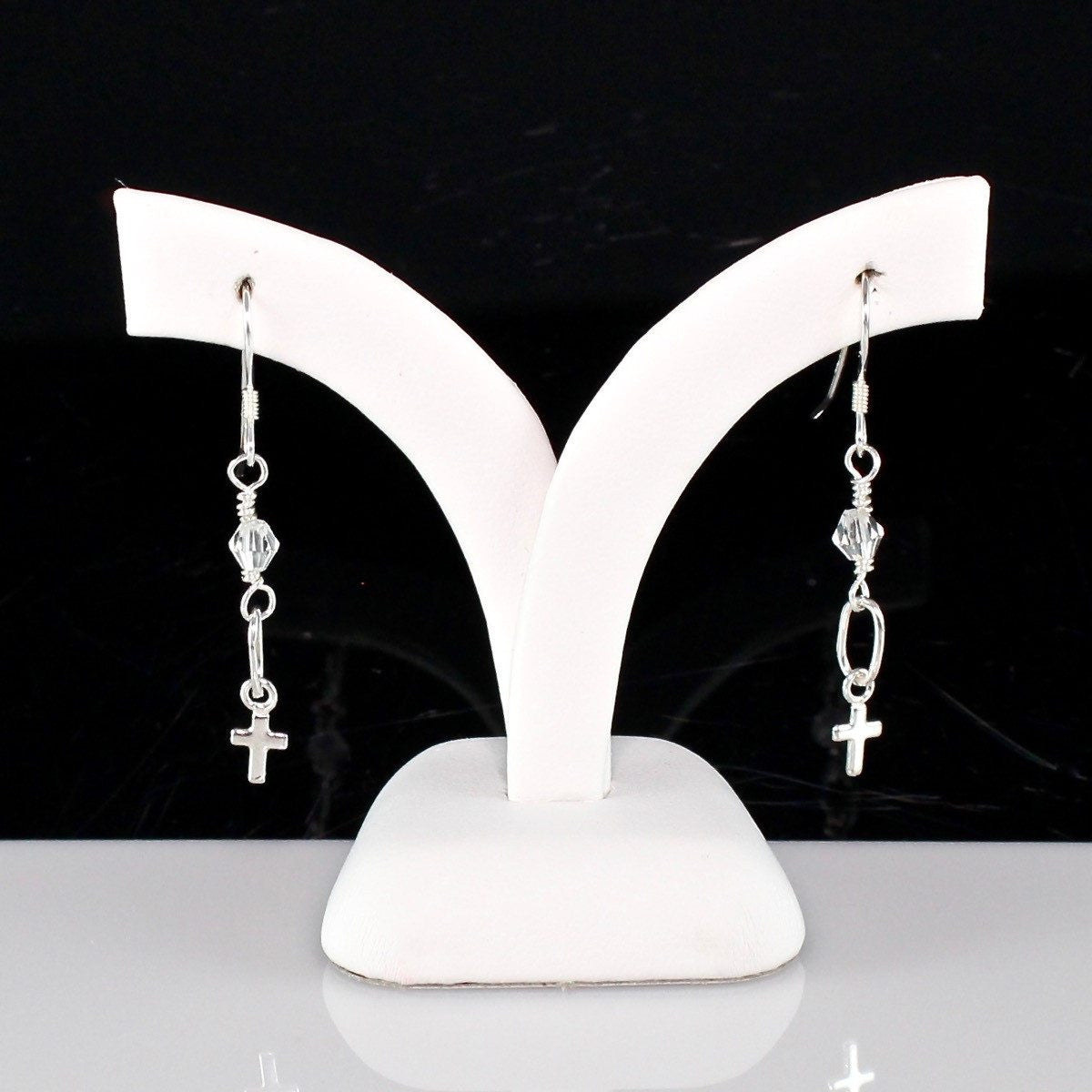 Simple Silver Cross Earrings