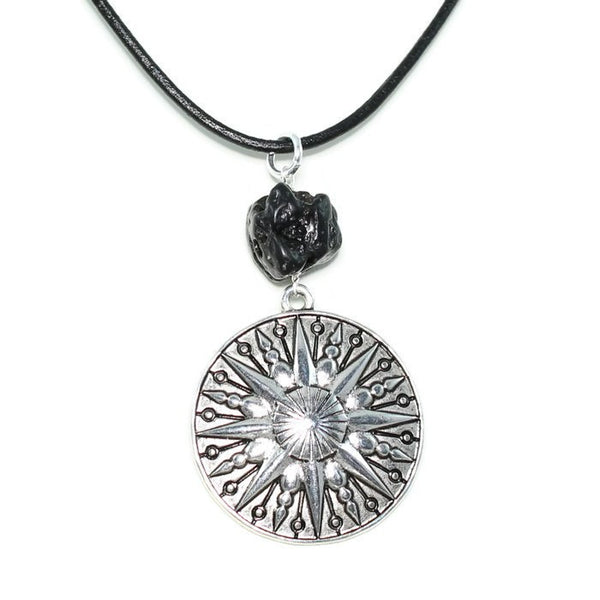 Sun Pendant Necklace with Tektite Stone