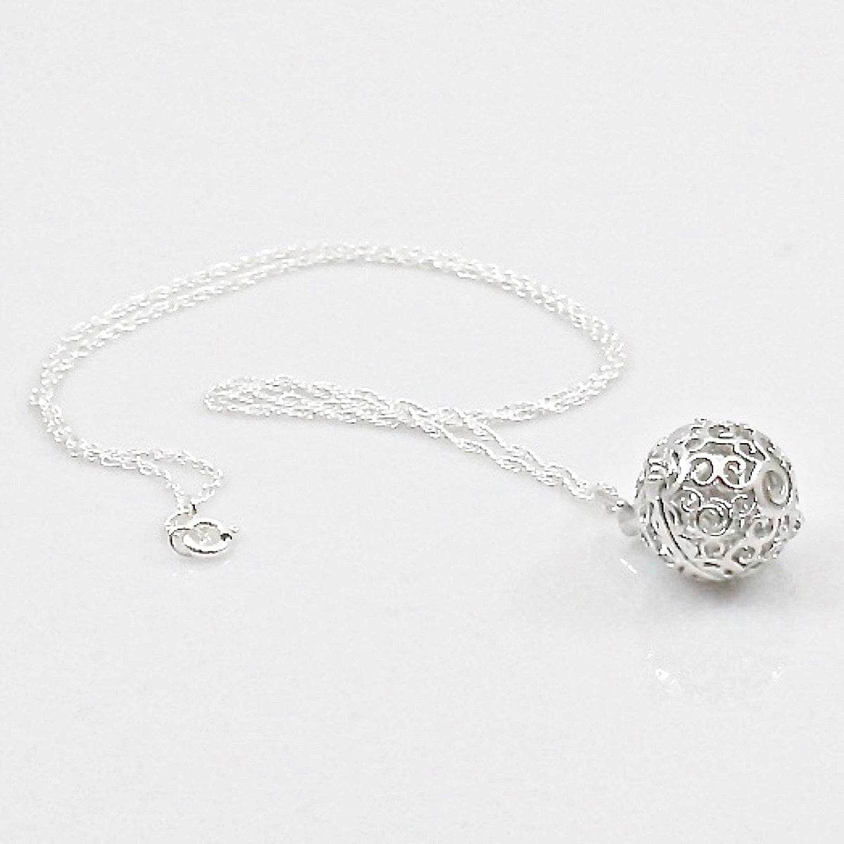 Essential Oils Diffuser Swirl Design Pendant Necklace with Sterling Silver Chain