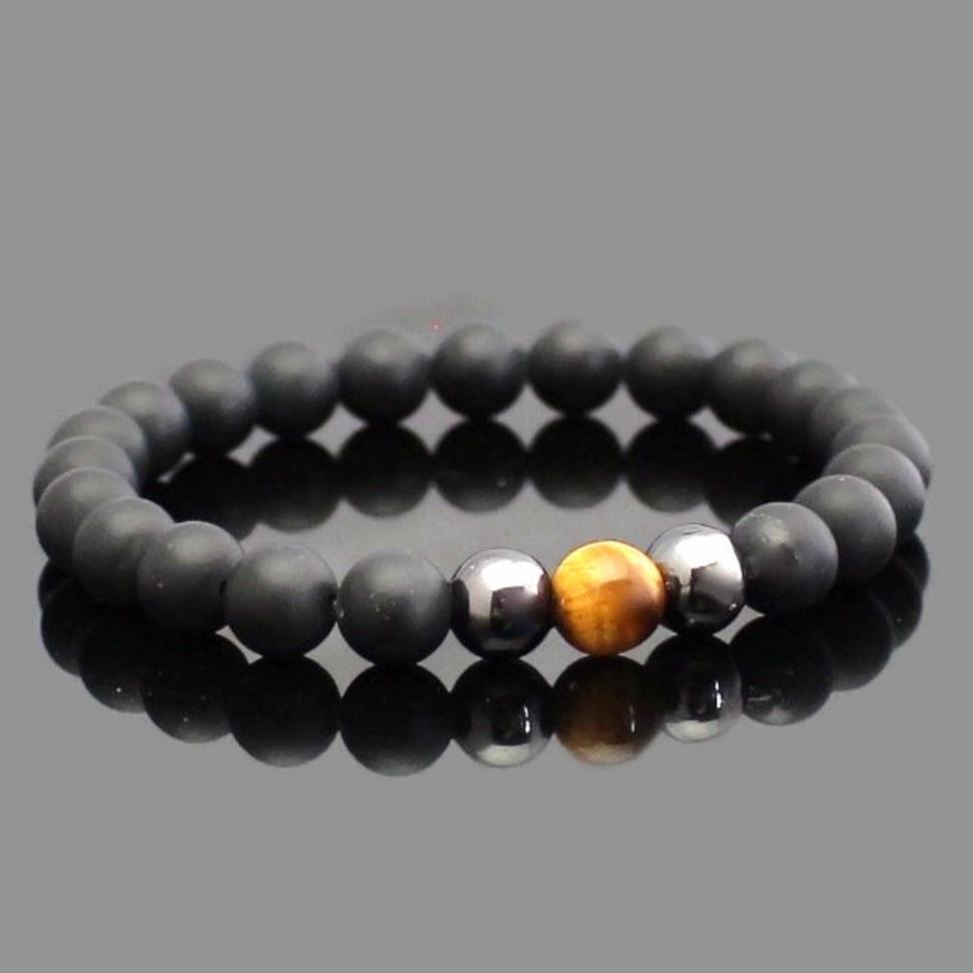 Tiger Eye and Matte Black Onyx Yoga Bracelet | Lari's Jewelry Designs