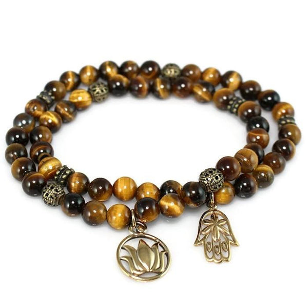 Tiger Eye Stretch Wrap Bracelet with Natural Bronze Hamsa and Lotus Charms Bracelet - Lari's Jewelry Designs
