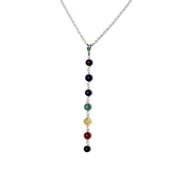Women's Gemstone 7 Chakra Pendant Necklace with Sterling Silver Chain
